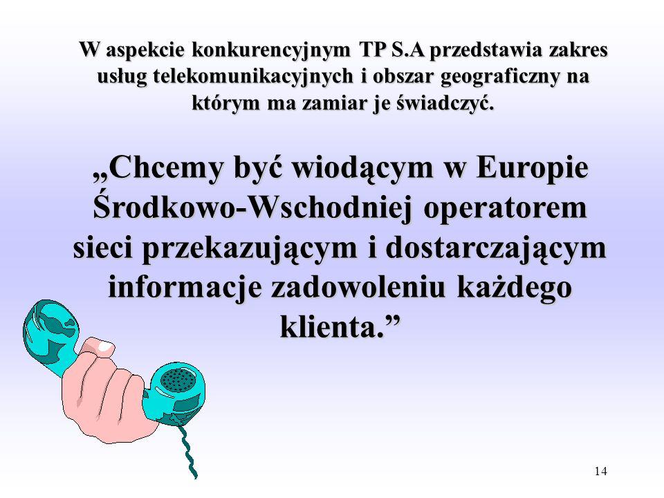 13 Telekomunikacja Polska S.A Założenia misji TP S.A. są wyznacznikiem aktualnych preferencji kadry kierowniczej i właściciela firm, którym w tym wypa