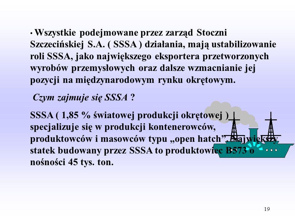 18 Misja Stoczni Szczecińskiej: 1.Zapewniamy stabilną ochronę interesów akcjonariuszy poprzez: - ugruntowanie czołowej pozycji n a rynku międzynarodow