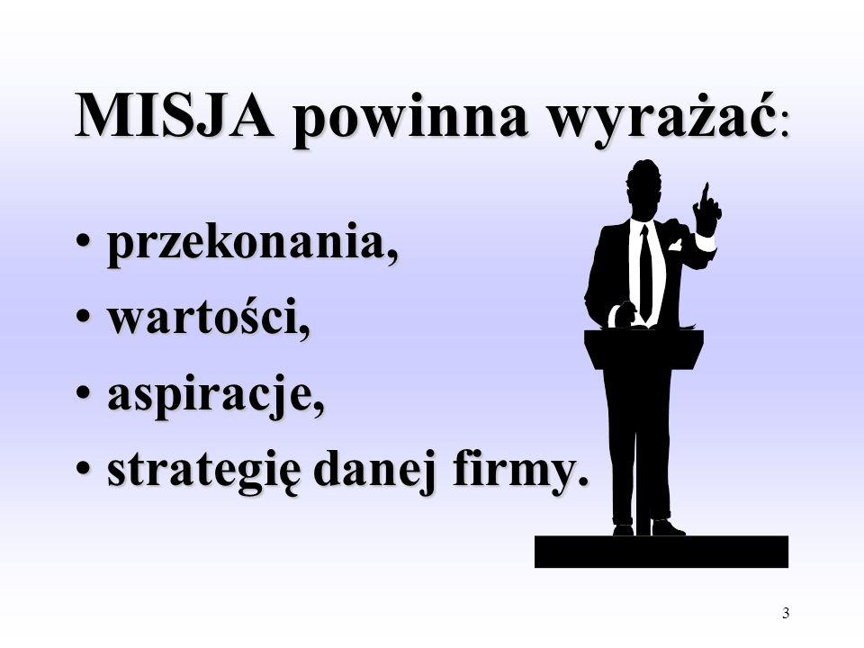 2 ISTOTA MISJI MISJA jest deklaracją celów działalności firmy. MISJA powinna zawierać wyraźną wizję bieżących i przyszłych operacji firmy związanych z