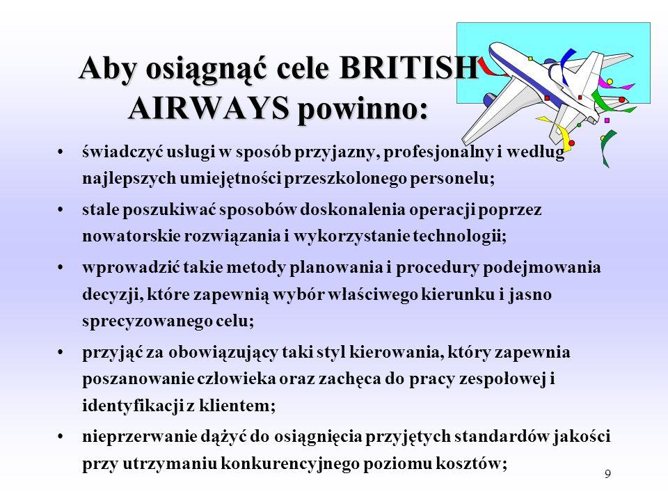 8 THE BRITISH AIRWAYS MISSION Być najlepszym, odnoszącym największe sukcesy przewoźnikiem Pewność i bezpieczeństwo. Być bezpiecznym i solidnym przewoź