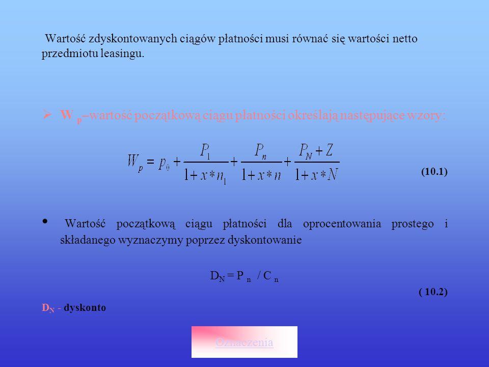 Wartość dyskontowa uzależniona jest od rodzaju oprocentowania co określa czynnik, którego postać jest następująca: C n - czynnik C n = 1+ x* N (10.3) P n – płatności przystosowane leasingowe stosowane do płatności określonych w harmonogramie opłat czynszowych oznaczone są jako :P h P n = P h * q (10.4) Przekształcenie to pozwala przeanalizować ofertę pod kątem charakteru płatności, czyli płatności stałych, rosnących, karencji płatności i wpływa na wartość końcową ciągu płatności.