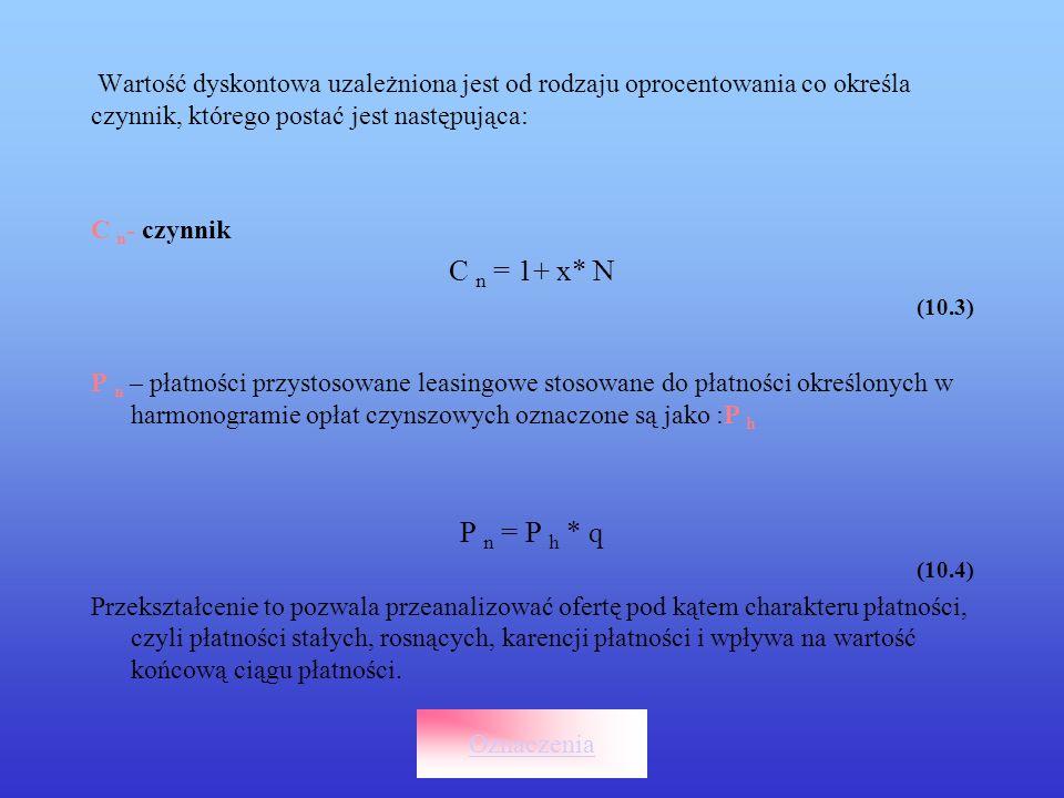 Wartość dyskontowa uzależniona jest od rodzaju oprocentowania co określa czynnik, którego postać jest następująca: C n - czynnik C n = 1+ x* N (10.3)