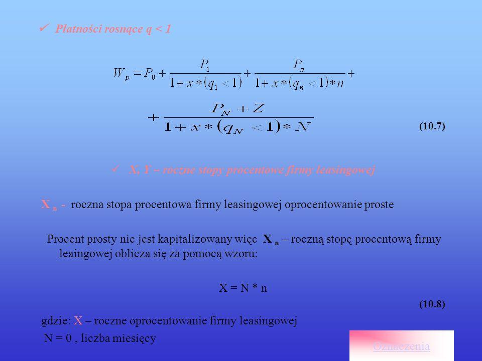 K n – Wartość końcowa i bieżąca zdyskontowanych przepływów gotówkowych K n = Gk 1 / ( Cr 1 + r 1 )+ G k n / ( C r n + r n )+ G k N / ( C r N + r N ) (10.28) Wartość końcowa i bieżąca zdyskontowanych przepływów gotówkowych dla oprocentowania prostego i składanego