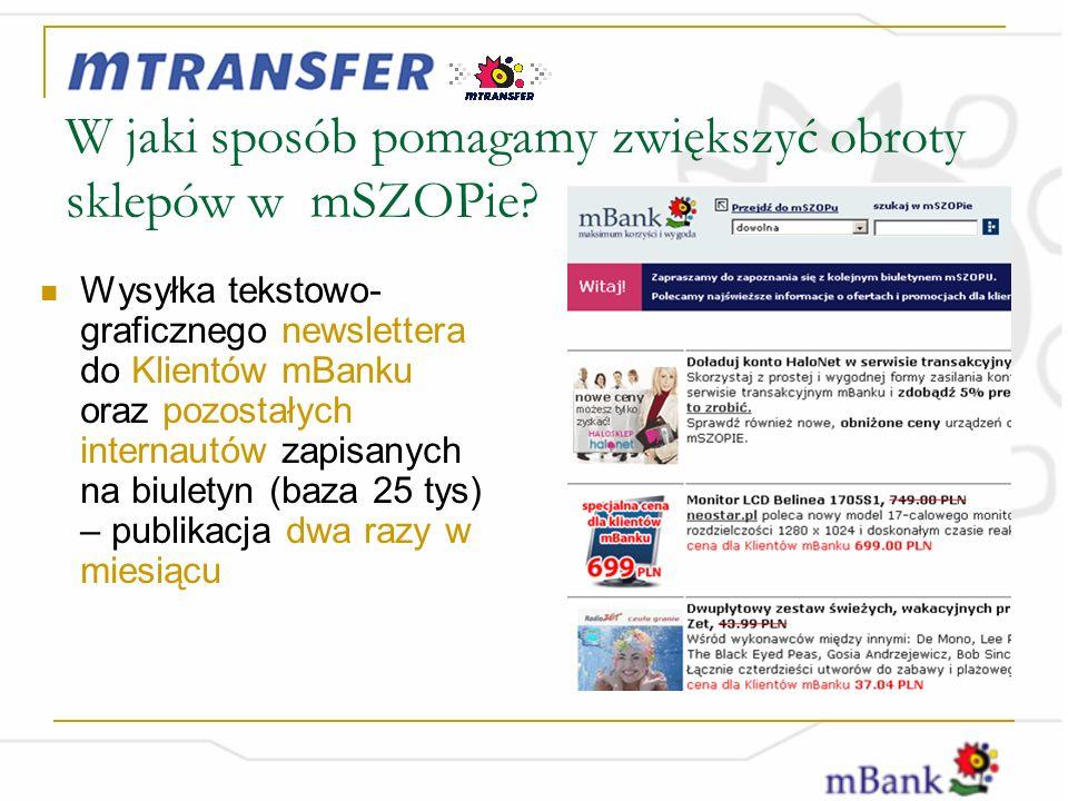 Wysyłka tekstowo- graficznego newslettera do Klientów mBanku oraz pozostałych internautów zapisanych na biuletyn (baza 25 tys) – publikacja dwa razy w miesiącu