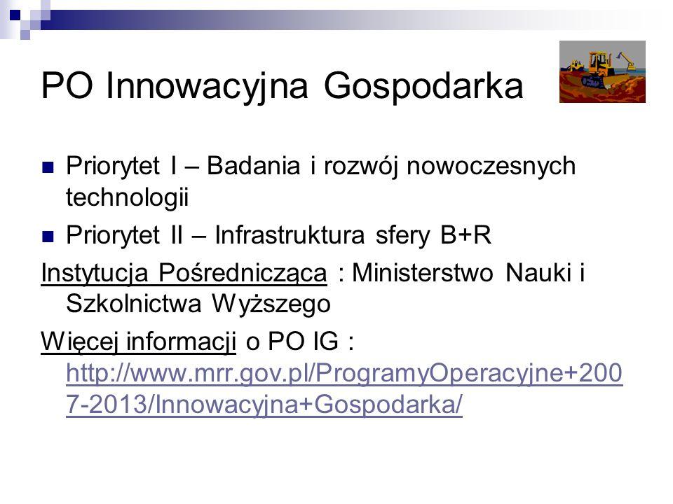 PO Innowacyjna Gospodarka Priorytet I – Badania i rozwój nowoczesnych technologii Priorytet II – Infrastruktura sfery B+R Instytucja Pośrednicząca : Ministerstwo Nauki i Szkolnictwa Wyższego Więcej informacji o PO IG : http://www.mrr.gov.pl/ProgramyOperacyjne+200 7-2013/Innowacyjna+Gospodarka/ http://www.mrr.gov.pl/ProgramyOperacyjne+200 7-2013/Innowacyjna+Gospodarka/