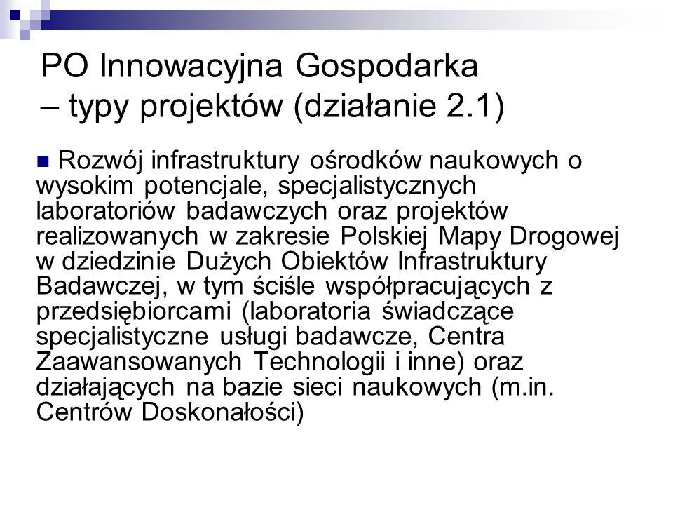 PO Innowacyjna Gospodarka – typy projektów (działanie 2.1) Rozwój infrastruktury ośrodków naukowych o wysokim potencjale, specjalistycznych laboratoriów badawczych oraz projektów realizowanych w zakresie Polskiej Mapy Drogowej w dziedzinie Dużych Obiektów Infrastruktury Badawczej, w tym ściśle współpracujących z przedsiębiorcami (laboratoria świadczące specjalistyczne usługi badawcze, Centra Zaawansowanych Technologii i inne) oraz działających na bazie sieci naukowych (m.in.