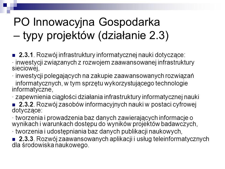PO Innowacyjna Gospodarka – typy projektów (działanie 2.3) 2.3.1.