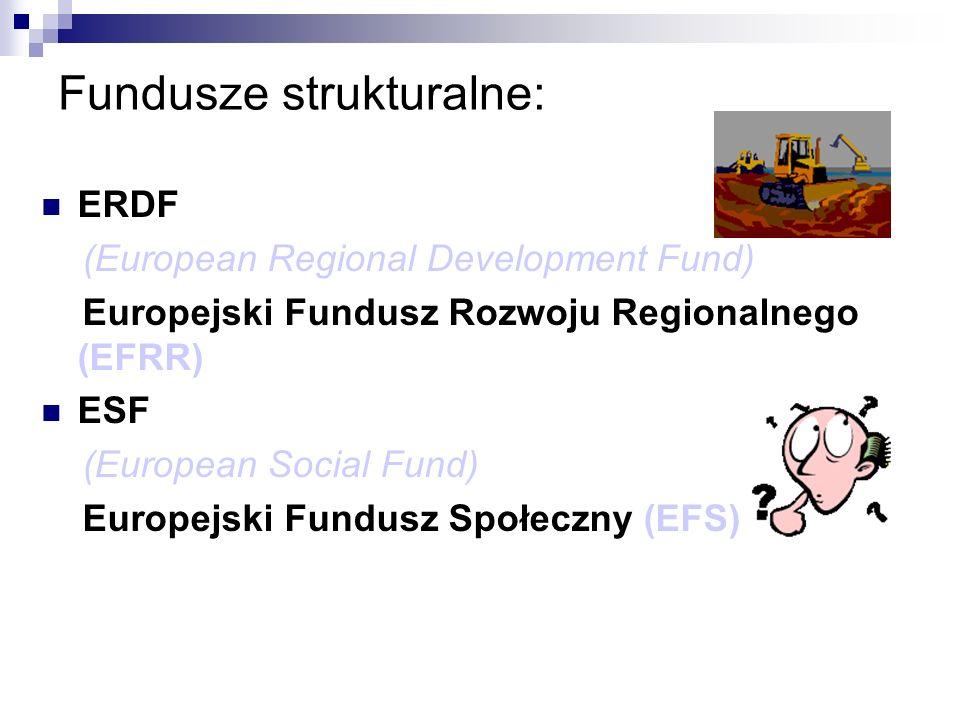 Fundusze strukturalne: ERDF (European Regional Development Fund) Europejski Fundusz Rozwoju Regionalnego (EFRR) ESF (European Social Fund) Europejski Fundusz Społeczny (EFS)