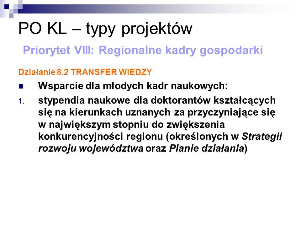 PO KL – typy projektów Priorytet VIII: Regionalne kadry gospodarki Działanie 8.2 TRANSFER WIEDZY Wsparcie dla młodych kadr naukowych: 1.