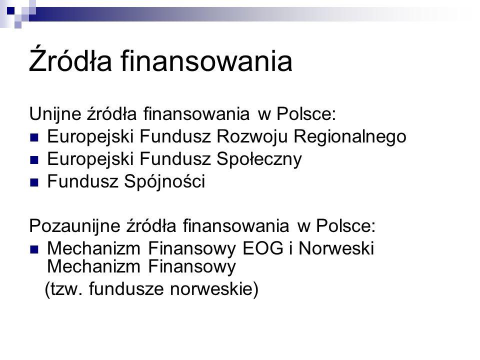 Źródła finansowania Unijne źródła finansowania w Polsce: Europejski Fundusz Rozwoju Regionalnego Europejski Fundusz Społeczny Fundusz Spójności Pozaunijne źródła finansowania w Polsce: Mechanizm Finansowy EOG i Norweski Mechanizm Finansowy (tzw.