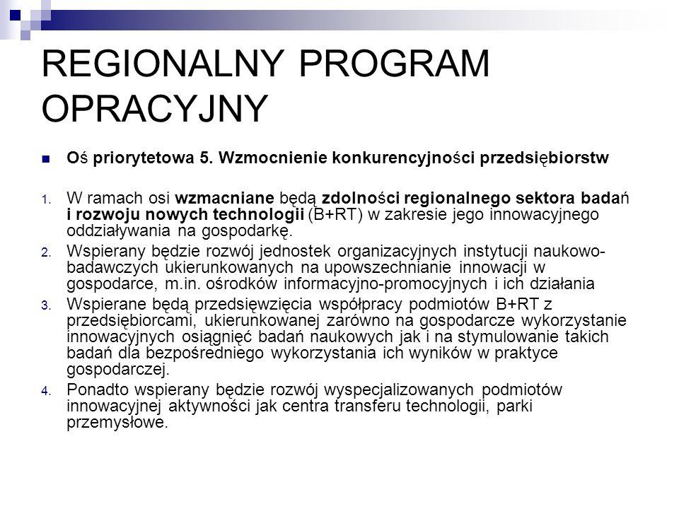REGIONALNY PROGRAM OPRACYJNY Oś priorytetowa 5.Wzmocnienie konkurencyjności przedsiębiorstw 1.