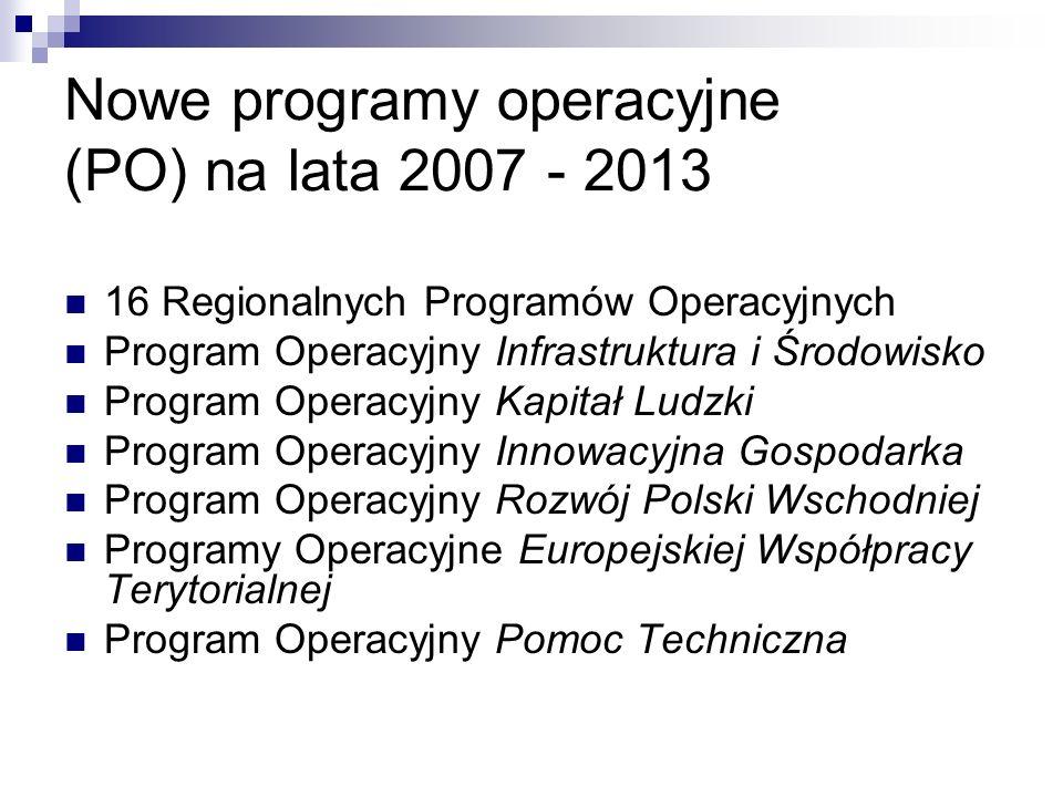 Nowe programy operacyjne (PO) na lata 2007 - 2013 16 Regionalnych Programów Operacyjnych Program Operacyjny Infrastruktura i Środowisko Program Operacyjny Kapitał Ludzki Program Operacyjny Innowacyjna Gospodarka Program Operacyjny Rozwój Polski Wschodniej Programy Operacyjne Europejskiej Współpracy Terytorialnej Program Operacyjny Pomoc Techniczna