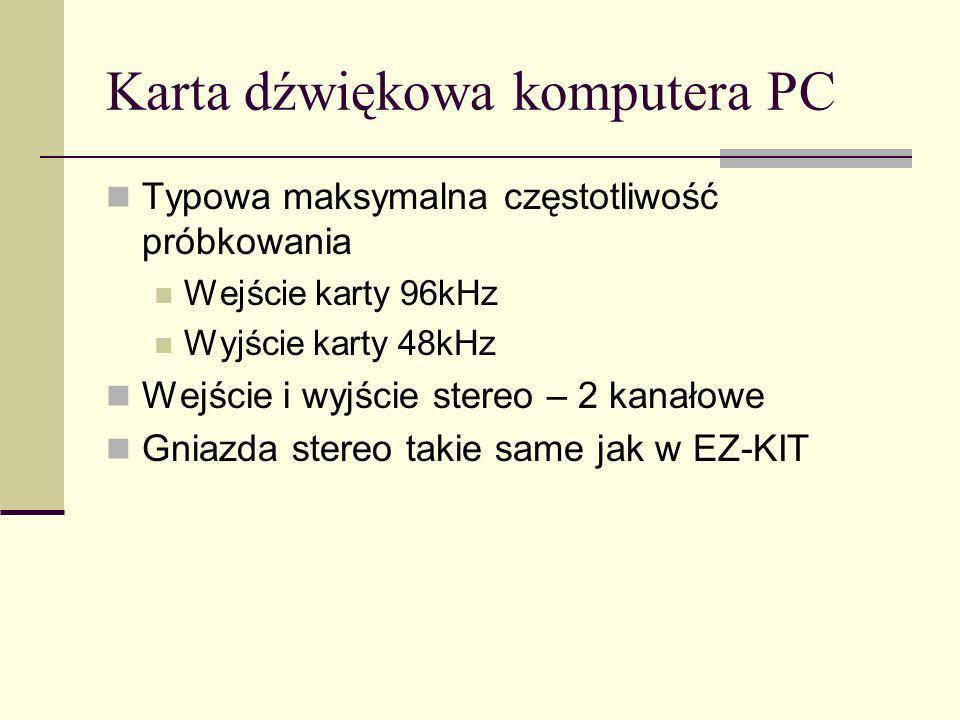 Karta dźwiękowa komputera PC Typowa maksymalna częstotliwość próbkowania Wejście karty 96kHz Wyjście karty 48kHz Wejście i wyjście stereo – 2 kanałowe