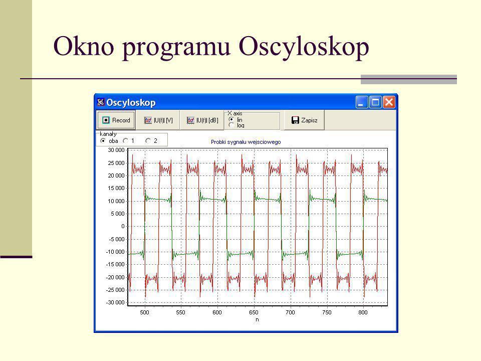 Okno programu Oscyloskop
