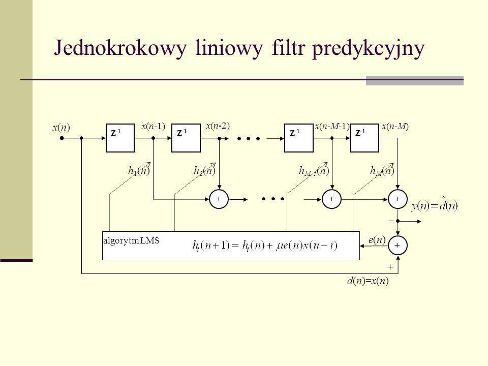 Jednokrokowy liniowy filtr predykcyjny _ Z -1 + h1(n)h1(n)h2(n)h2(n) + + h M-1 (n)hM(n)hM(n) x(n)x(n) x(n-1) x(n-2) x(n-M-1)x(n-M) + + d(n)=x(n) e(n)e