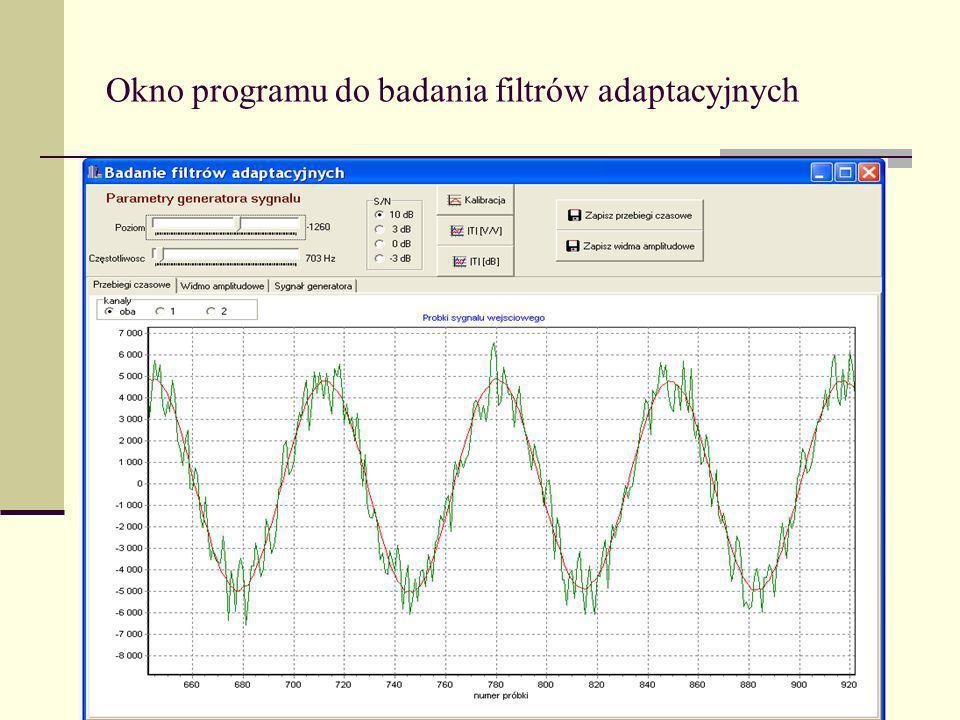 Okno programu do badania filtrów adaptacyjnych