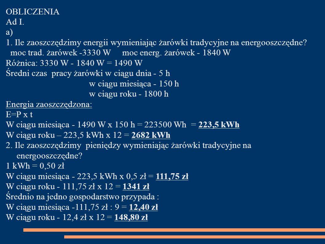 OBLICZENIA Ad I. a) 1. Ile zaoszczędzimy energii wymieniając żarówki tradycyjne na energooszczędne? moc trad. żarówek -3330 W moc energ. żarówek - 184