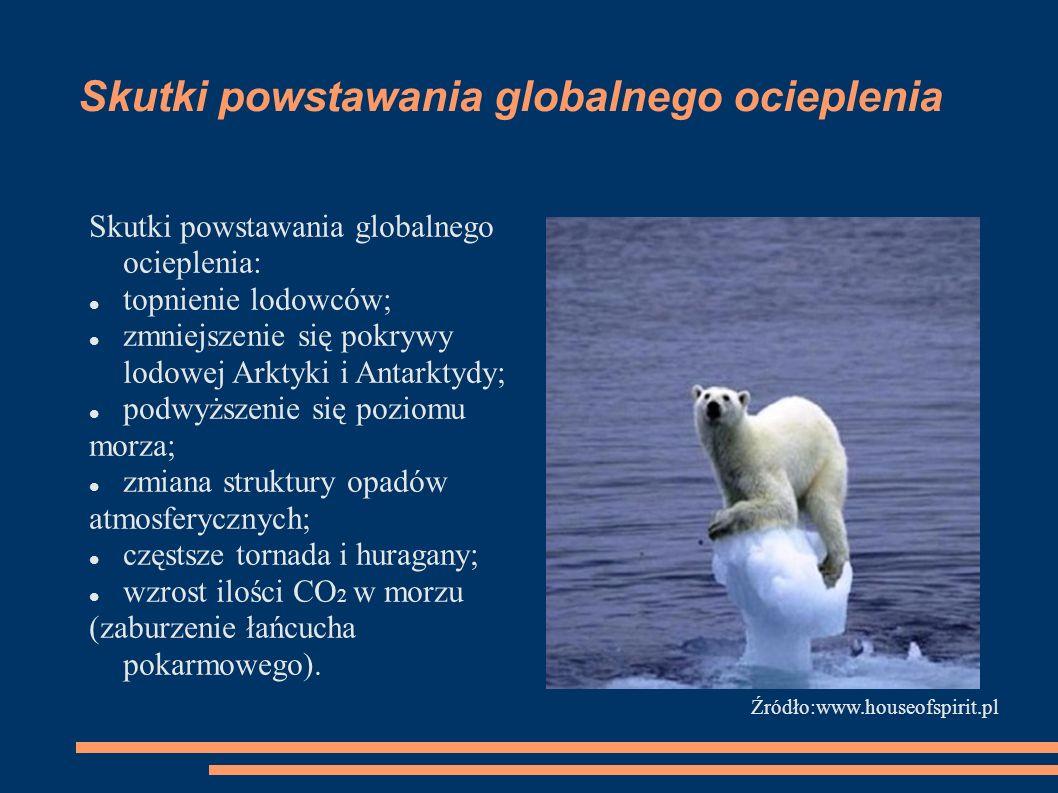 Skutki powstawania globalnego ocieplenia Skutki powstawania globalnego ocieplenia: topnienie lodowców; zmniejszenie się pokrywy lodowej Arktyki i Anta