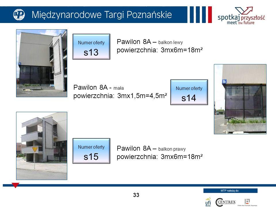 33 Pawilon 8A – balkon lewy powierzchnia: 3mx6m=18m² Pawilon 8A - mała powierzchnia: 3mx1,5m=4,5m² Numer oferty s14 Numer oferty s13 Numer oferty s15 Pawilon 8A – balkon prawy powierzchnia: 3mx6m=18m²