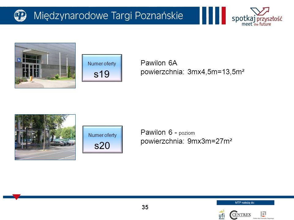 35 Pawilon 6A powierzchnia: 3mx4,5m=13,5m² Pawilon 6 - poziom powierzchnia: 9mx3m=27m² Numer oferty s19 Numer oferty s20
