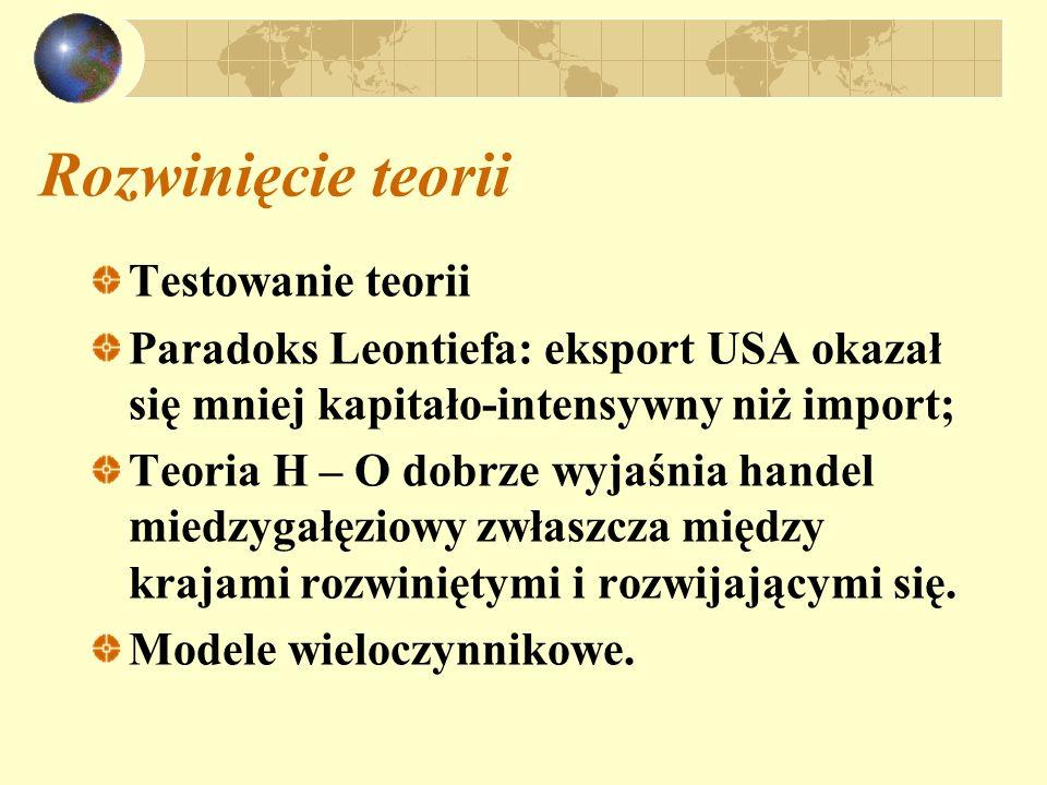 Rozwinięcie teorii Testowanie teorii Paradoks Leontiefa: eksport USA okazał się mniej kapitało-intensywny niż import; Teoria H – O dobrze wyjaśnia han