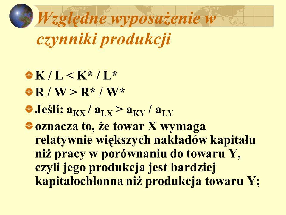 Względne wyposażenie w czynniki produkcji K / L < K* / L* R / W > R* / W* Jeśli: a KX / a LX > a KY / a LY oznacza to, że towar X wymaga relatywnie wi