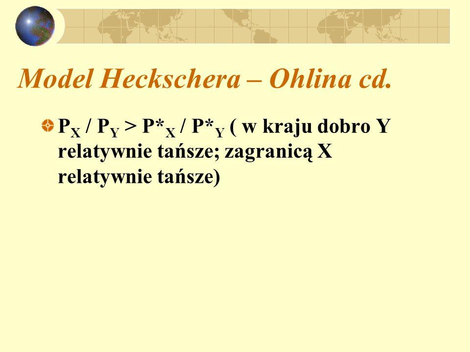 Model Heckschera – Ohlina cd. P X / P Y > P* X / P* Y ( w kraju dobro Y relatywnie tańsze; zagranicą X relatywnie tańsze)