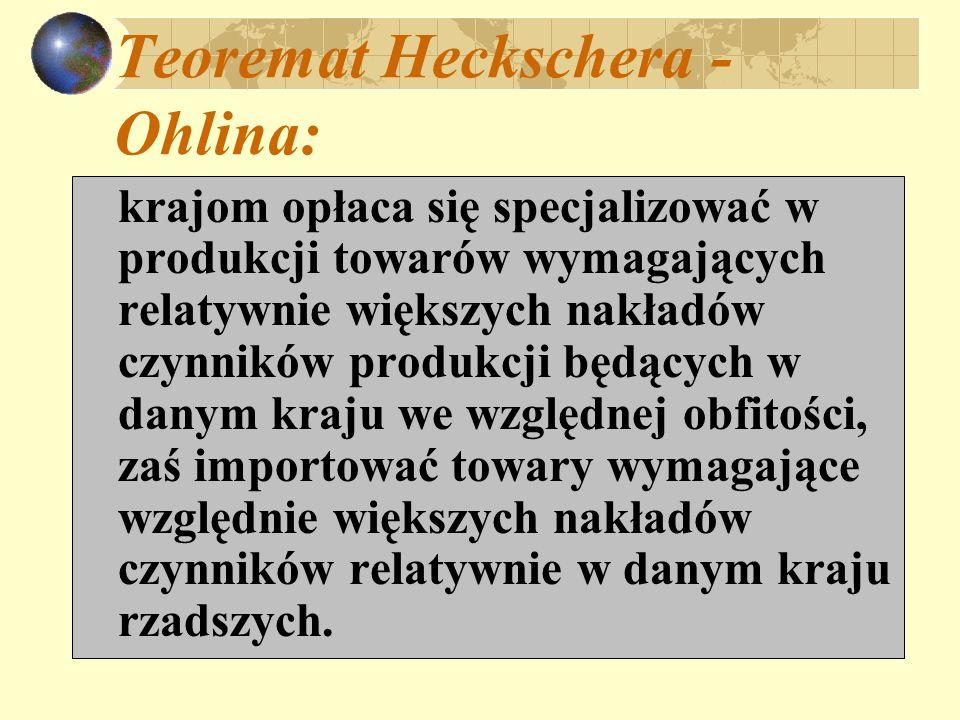 Teoremat Heckschera - Ohlina: krajom opłaca się specjalizować w produkcji towarów wymagających relatywnie większych nakładów czynników produkcji będąc