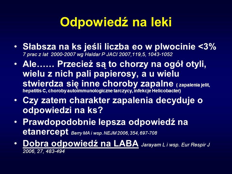 Odpowiedź na leki Słabsza na ks jeśli liczba eo w plwocinie <3% 7 prac z lat 2000-2007 wg Haldar P JACI 2007,119,5, 1043-1052 Ale…… Przecież są to cho