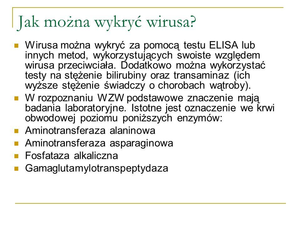 Jak można wykryć wirusa? Wirusa można wykryć za pomocą testu ELISA lub innych metod, wykorzystujących swoiste względem wirusa przeciwciała. Dodatkowo