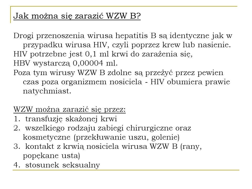 Jak można się zarazić WZW B? Drogi przenoszenia wirusa hepatitis B są identyczne jak w przypadku wirusa HIV, czyli poprzez krew lub nasienie. HIV potr