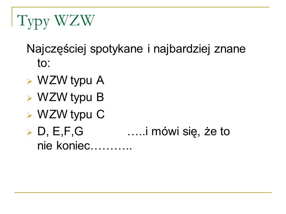 Typy WZW Najczęściej spotykane i najbardziej znane to: WZW typu A WZW typu B WZW typu C D, E,F,G …..i mówi się, że to nie koniec………..