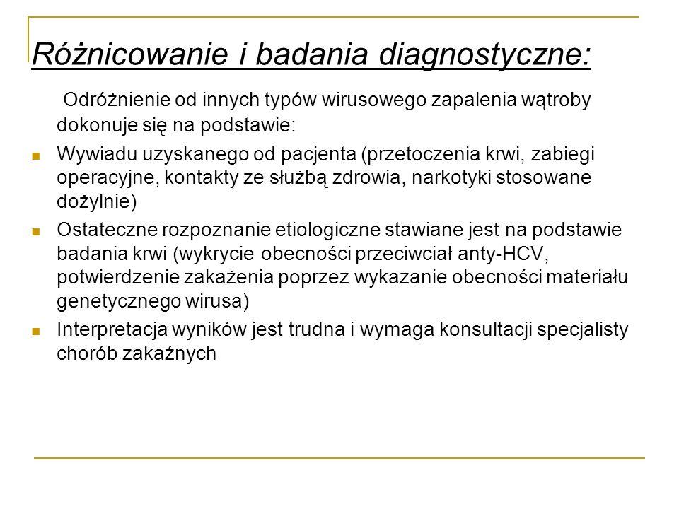 Różnicowanie i badania diagnostyczne: Odróżnienie od innych typów wirusowego zapalenia wątroby dokonuje się na podstawie: Wywiadu uzyskanego od pacjen