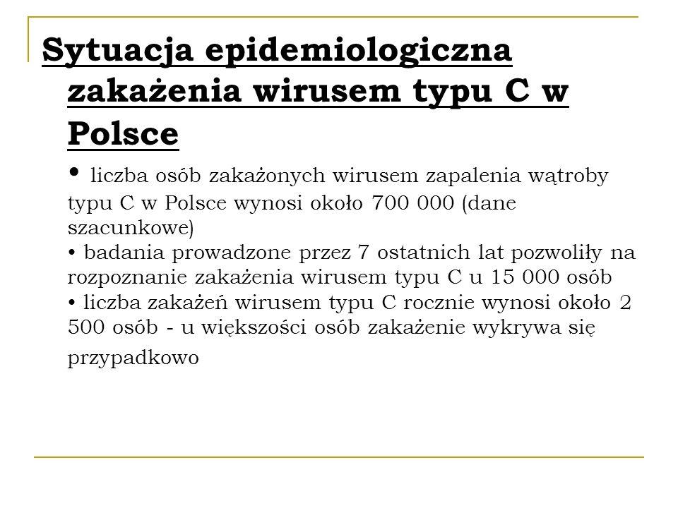 Sytuacja epidemiologiczna zakażenia wirusem typu C w Polsce liczba osób zakażonych wirusem zapalenia wątroby typu C w Polsce wynosi około 700 000 (dan