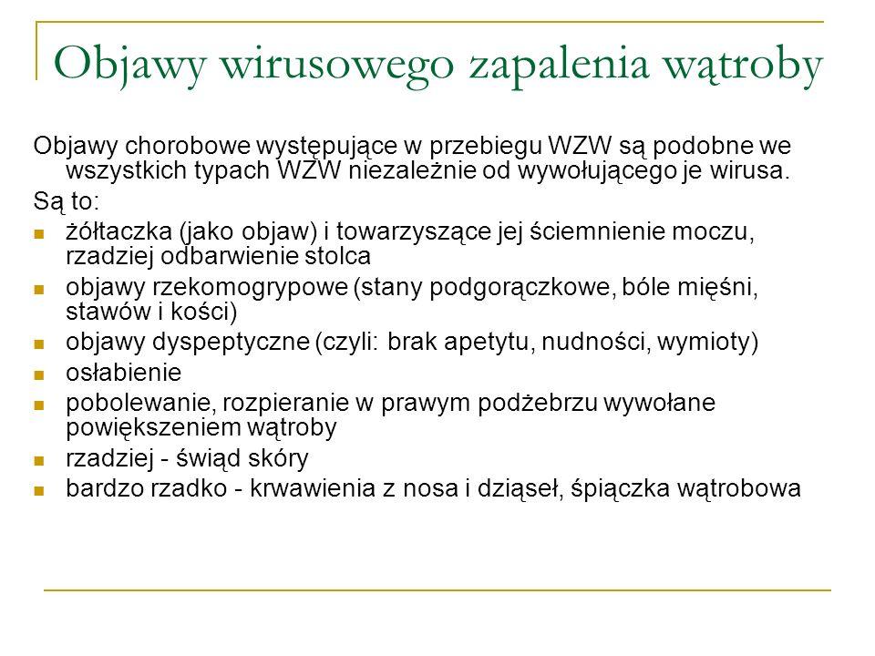 Zasady leczenia: Ostre WZW typu A podlega administracyjnemu obowiązkowi leczenia szpitalnego.