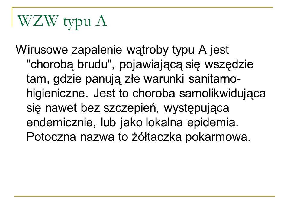 WZW A Czynnikiem etiologicznym jest wirus WZW A (HAV) przypominający wirusa polio, najmniej groźny, składa się z materiału genetycznego w postaci pojedynczej nici RNA, zamkniętego w osłonce w kształcie dwudziestościanu.
