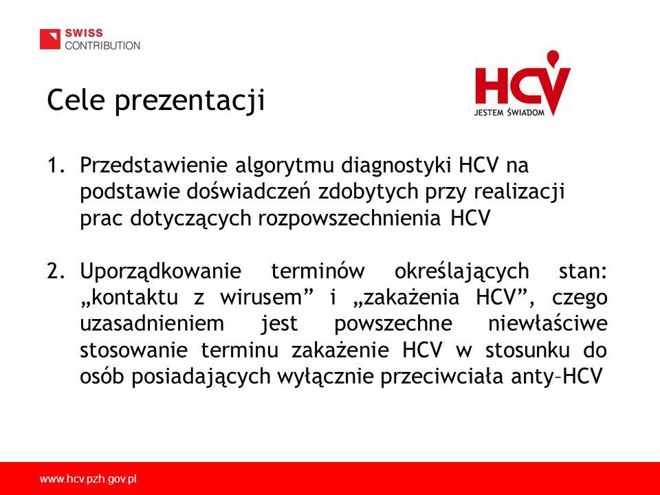 www.hcv.pzh.gov.pl Wyniki oznaczeń rozpowszechnienia anty-HCV w Polsce (studium 2010-2011) WYNIK METODA SZACUNKOWA LICZBA OSÓB ZAKAŻONYCH HCV W POLSCE n% 921,91ELISA 1+725 000 541,12 ELISA 1+, WB + 425 600 460,95ELISA 2+326 800 290,6RNA +228 000 Źródło: Godzik i wsp., 2012