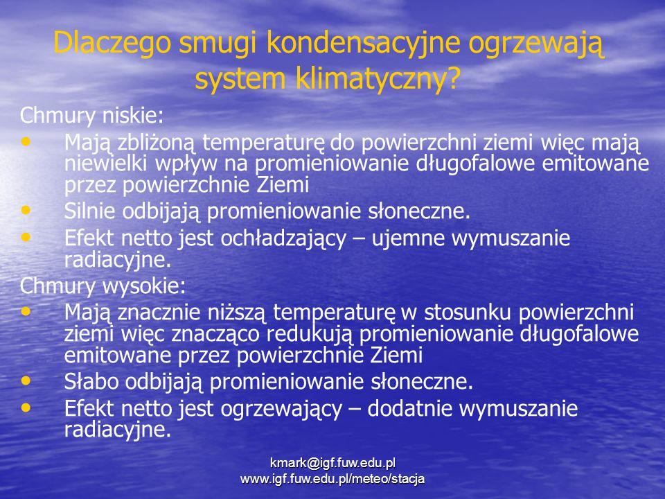 Dlaczego smugi kondensacyjne ogrzewają system klimatyczny? Chmury niskie: Mają zbliżoną temperaturę do powierzchni ziemi więc mają niewielki wpływ na