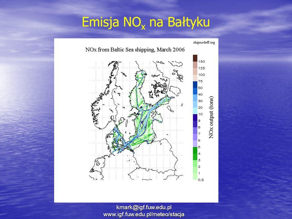 Emisja NO x na Bałtyku kmark@igf.fuw.edu.pl www.igf.fuw.edu.pl/meteo/stacja