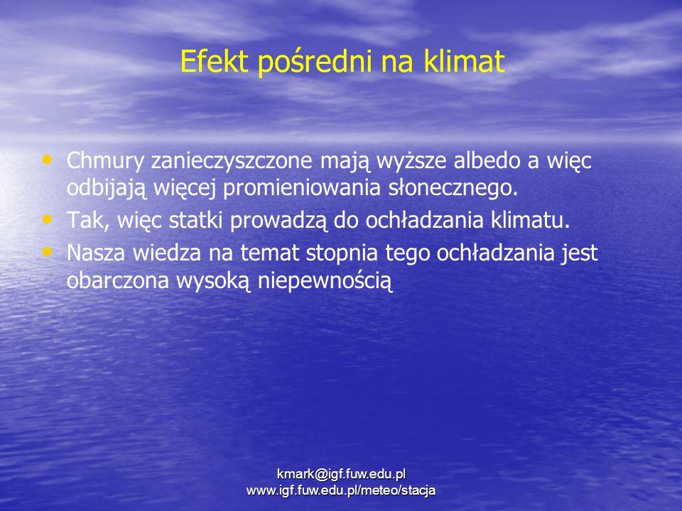 Efekt pośredni na klimat Chmury zanieczyszczone mają wyższe albedo a więc odbijają więcej promieniowania słonecznego. Tak, więc statki prowadzą do och