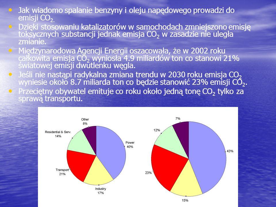 Jak wiadomo spalanie benzyny i oleju napędowego prowadzi do emisji CO 2. Dzięki stosowaniu katalizatorów w samochodach zmniejszono emisję toksycznych