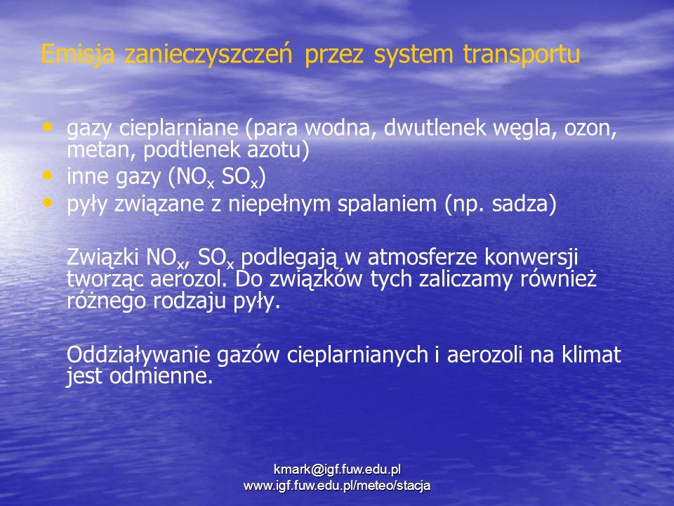 Cztery mechanizmy oddziaływania emisji systemu transportu na klimat Bezpośrednia emisja gazów cieplarnianych (głównie ) Bezpośrednia emisja gazów cieplarnianych (głównie CO 2 ) Emisja prekursorów gazów cieplarnianych () Emisja prekursorów gazów cieplarnianych (NO x ) Emisja aerozoli oraz ich prekursorów Emisja aerozoli oraz ich prekursorów Oddziaływanie aerozoli na własności fizyczne chmur Oddziaływanie aerozoli na własności fizyczne chmur kmark@igf.fuw.edu.pl www.igf.fuw.edu.pl/meteo/stacja