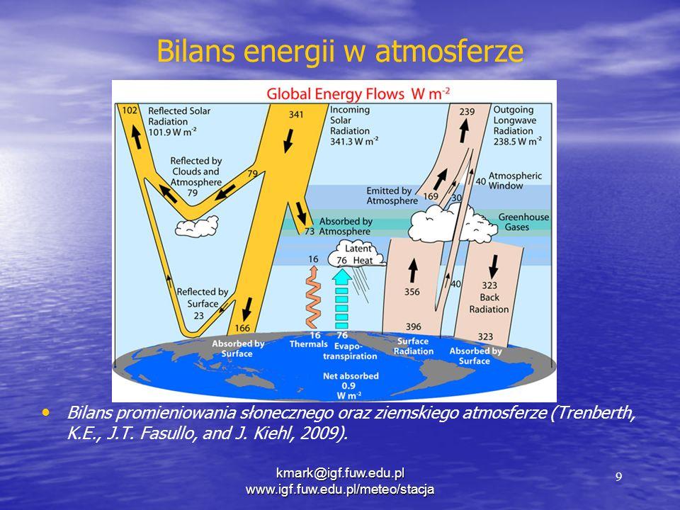 Bilans energii w atmosferze Bilans promieniowania słonecznego oraz ziemskiego atmosferze (Trenberth, K.E., J.T. Fasullo, and J. Kiehl, 2009). 9 kmark@