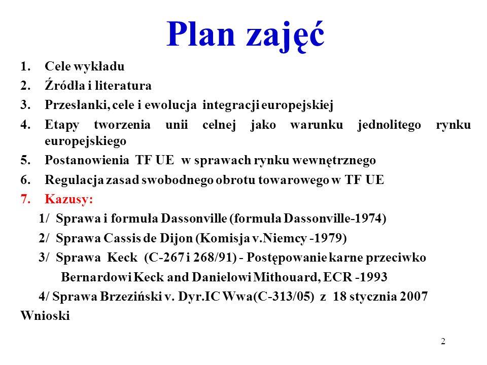Plan zajęć 1.Cele wykładu 2.Źródła i literatura 3.Przesłanki, cele i ewolucja integracji europejskiej 4.Etapy tworzenia unii celnej jako warunku jednolitego rynku europejskiego 5.Postanowienia TF UE w sprawach rynku wewnętrznego 6.Regulacja zasad swobodnego obrotu towarowego w TF UE 7.Kazusy: 1/ Sprawa i formuła Dassonville (formuła Dassonville-1974) 2/ Sprawa Cassis de Dijon (Komisja v.Niemcy -1979) 3/ Sprawa Keck (C-267 i 268/91) - Postępowanie karne przeciwko Bernardowi Keck and Danielowi Mithouard, ECR -1993 4/ Sprawa Brzeziński v.
