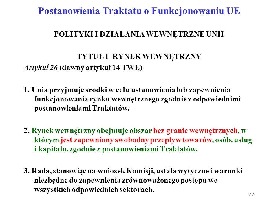 Postanowienia Traktatu o Funkcjonowaniu UE POLITYKI I DZIAŁANIA WEWNĘTRZNE UNII TYTUŁ I RYNEK WEWNĘTRZNY Artykuł 26 (dawny artykuł 14 TWE) 1.