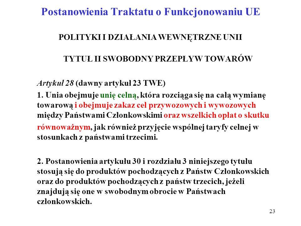 Postanowienia Traktatu o Funkcjonowaniu UE POLITYKI I DZIAŁANIA WEWNĘTRZNE UNII TYTUŁ II SWOBODNY PRZEPŁYW TOWARÓW Artykuł 28 (dawny artykuł 23 TWE) 1.
