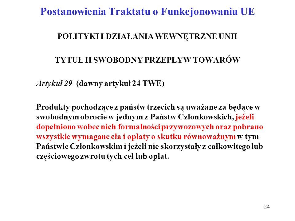 Postanowienia Traktatu o Funkcjonowaniu UE POLITYKI I DZIAŁANIA WEWNĘTRZNE UNII TYTUŁ II SWOBODNY PRZEPŁYW TOWARÓW Artykuł 29 (dawny artykuł 24 TWE) Produkty pochodzące z państw trzecich są uważane za będące w swobodnym obrocie w jednym z Państw Członkowskich, jeżeli dopełniono wobec nich formalności przywozowych oraz pobrano wszystkie wymagane cła i opłaty o skutku równoważnym w tym Państwie Członkowskim i jeżeli nie skorzystały z całkowitego lub częściowego zwrotu tych ceł lub opłat.