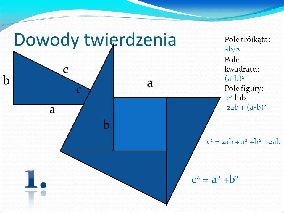 Dowody twierdzenia a c b a b c Pole kwadratu: (a-b) 2 Pole figury: c 2 lub 2ab + (a-b) 2 Pole trójkąta: ab/2 c 2 = 2ab + a 2 +b 2 – 2ab c 2 = a 2 +b 2
