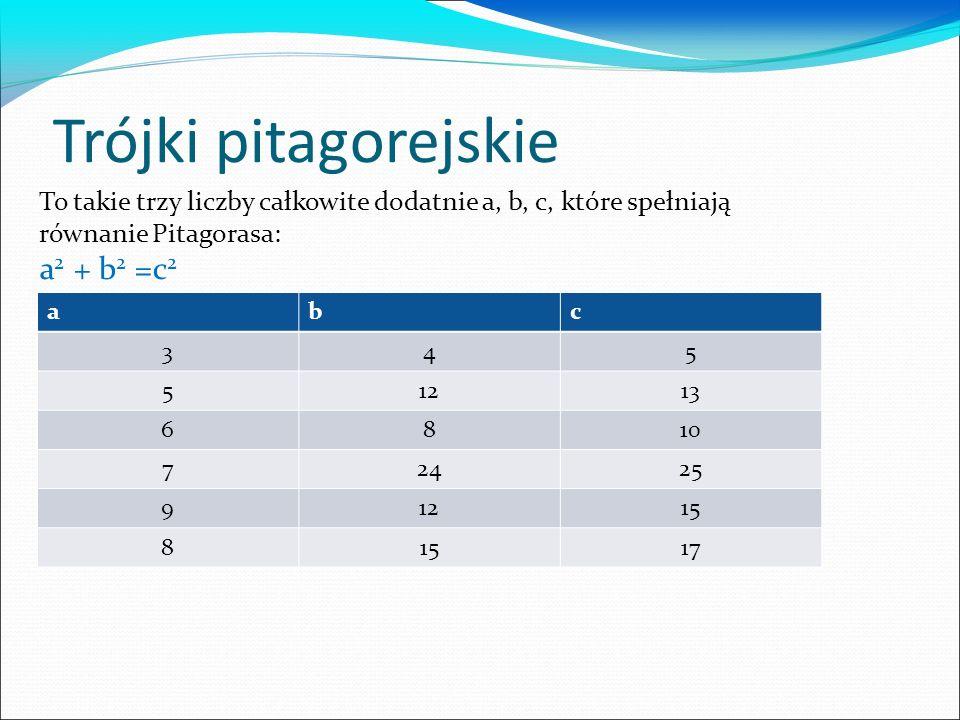 Trójki pitagorejskie abc 345 51213 6810 72425 91215 8 17 To takie trzy liczby całkowite dodatnie a, b, c, które spełniają równanie Pitagorasa: a 2 + b