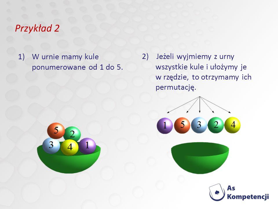 Przykład 2 1)W urnie mamy kule ponumerowane od 1 do 5.